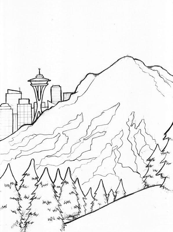 Mount Rainier coloring #5, Download drawings