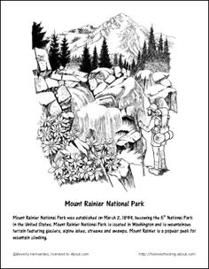 Mount Rainier coloring #4, Download drawings