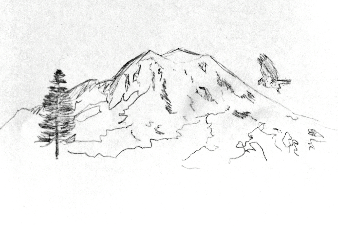 It's just a graphic of Nifty Mt Rainier Drawing