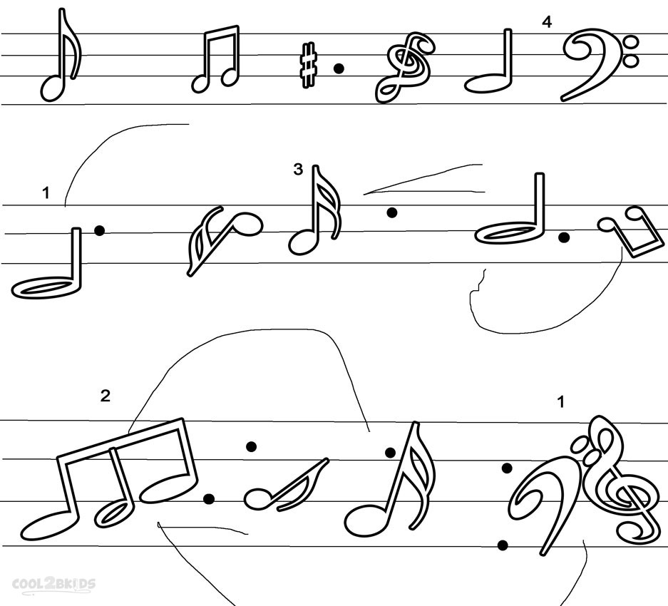 Music Notes coloring #2, Download drawings