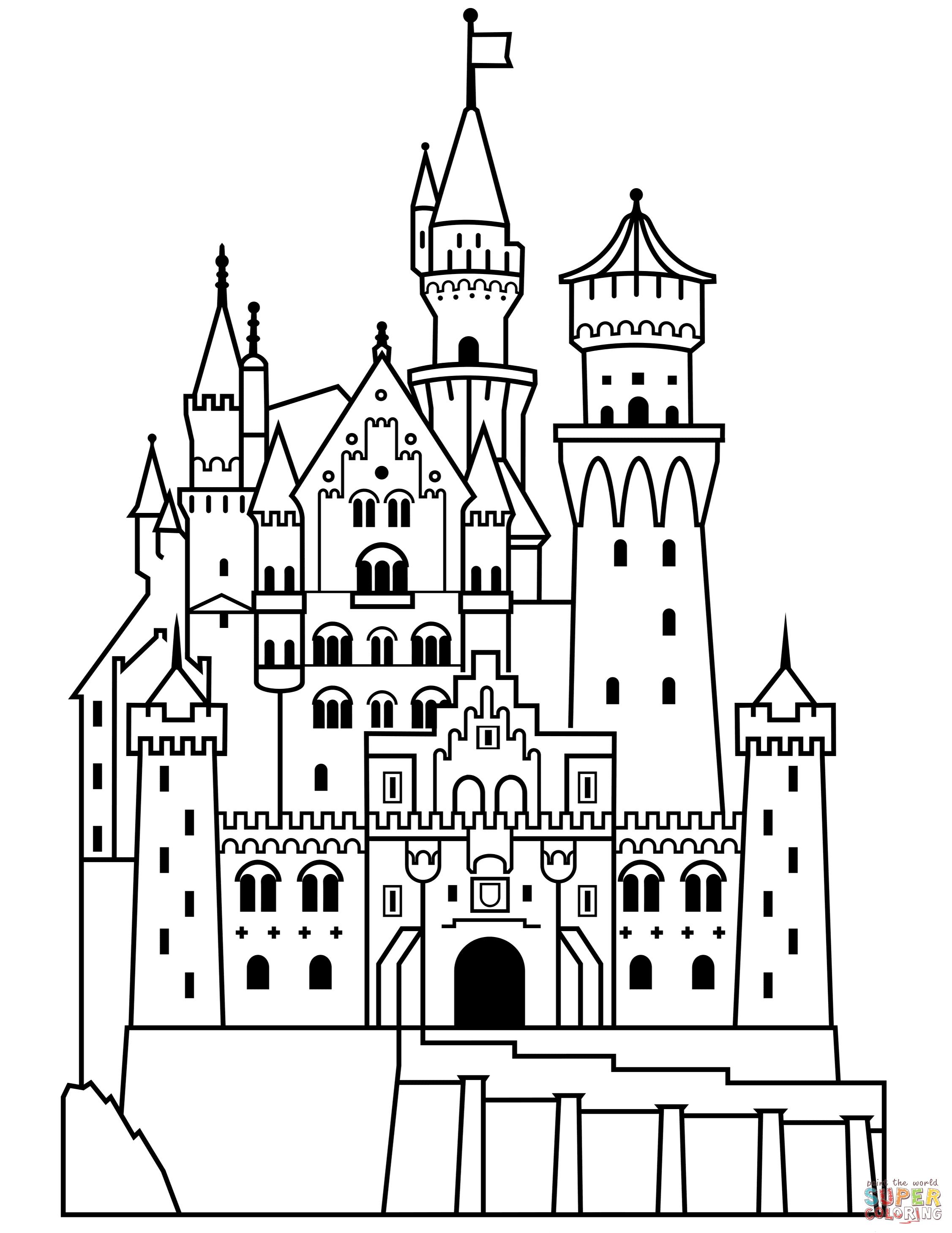 Neuschwanstein Castle coloring #11, Download drawings