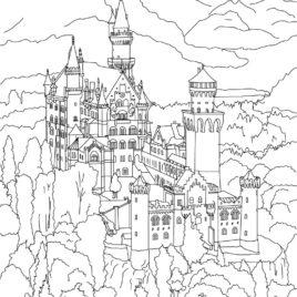 Neuschwanstein Castle coloring #12, Download drawings