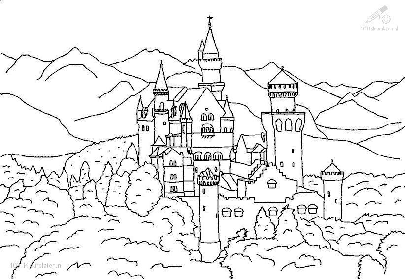 Neuschwanstein Castle coloring #6, Download drawings