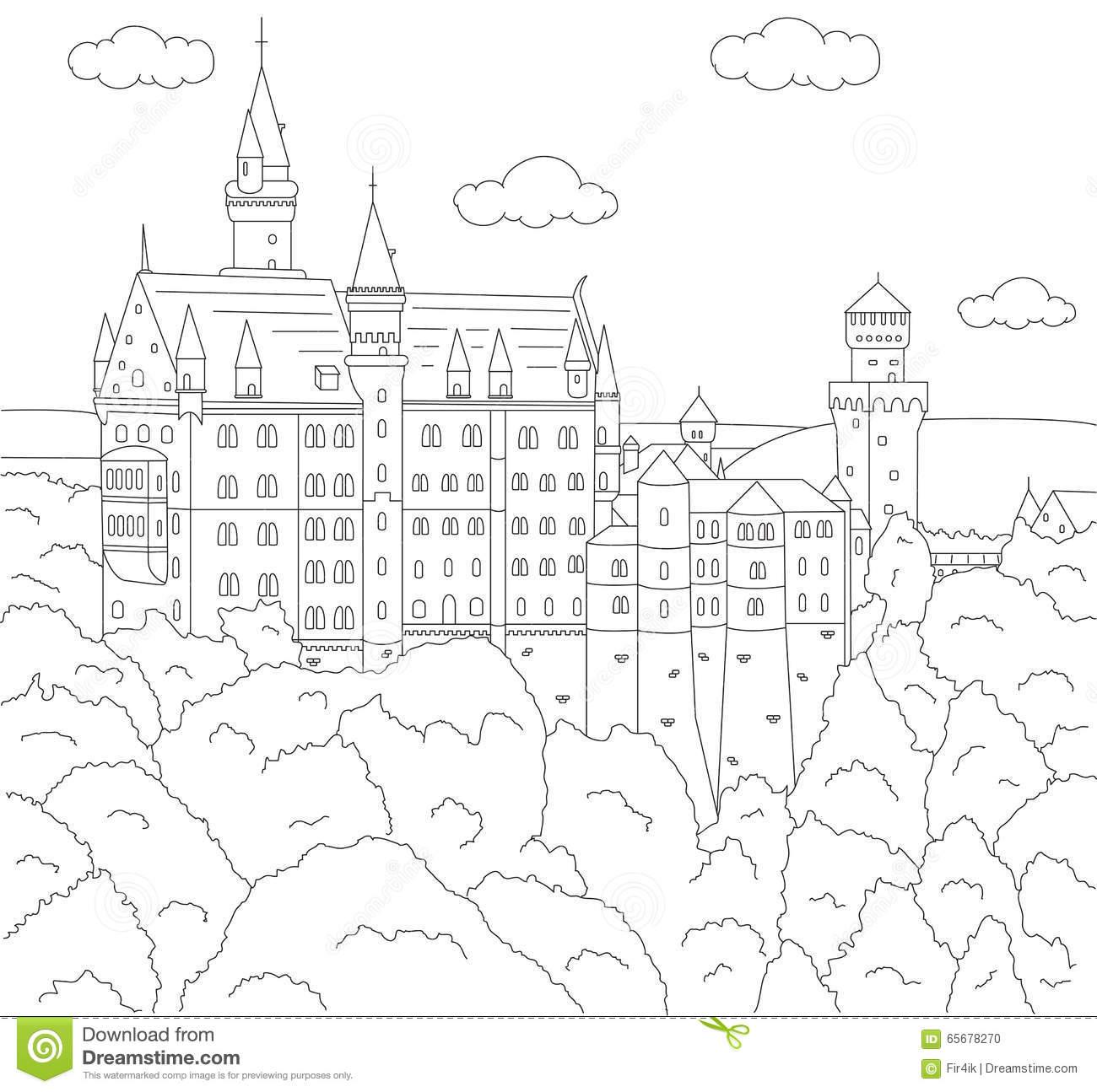 Neuschwanstein Castle coloring #5, Download drawings