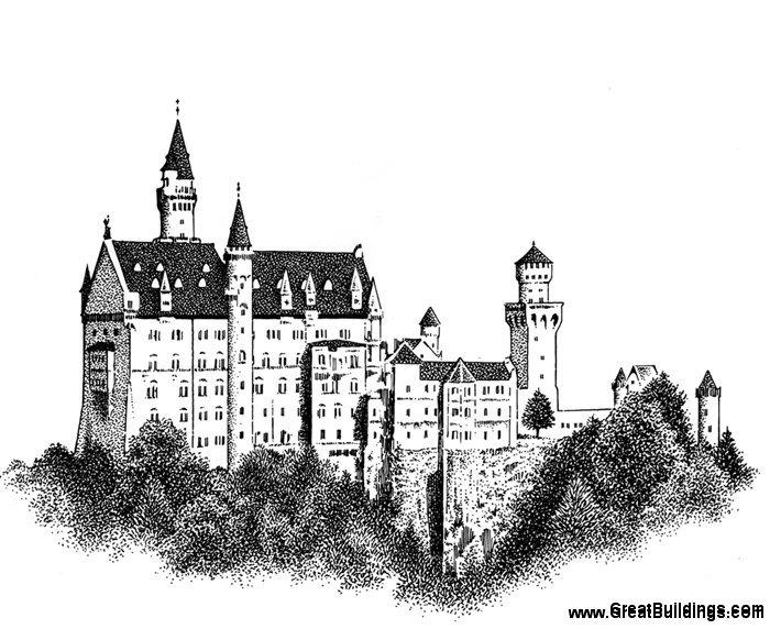 Neuschwanstein Castle coloring #3, Download drawings