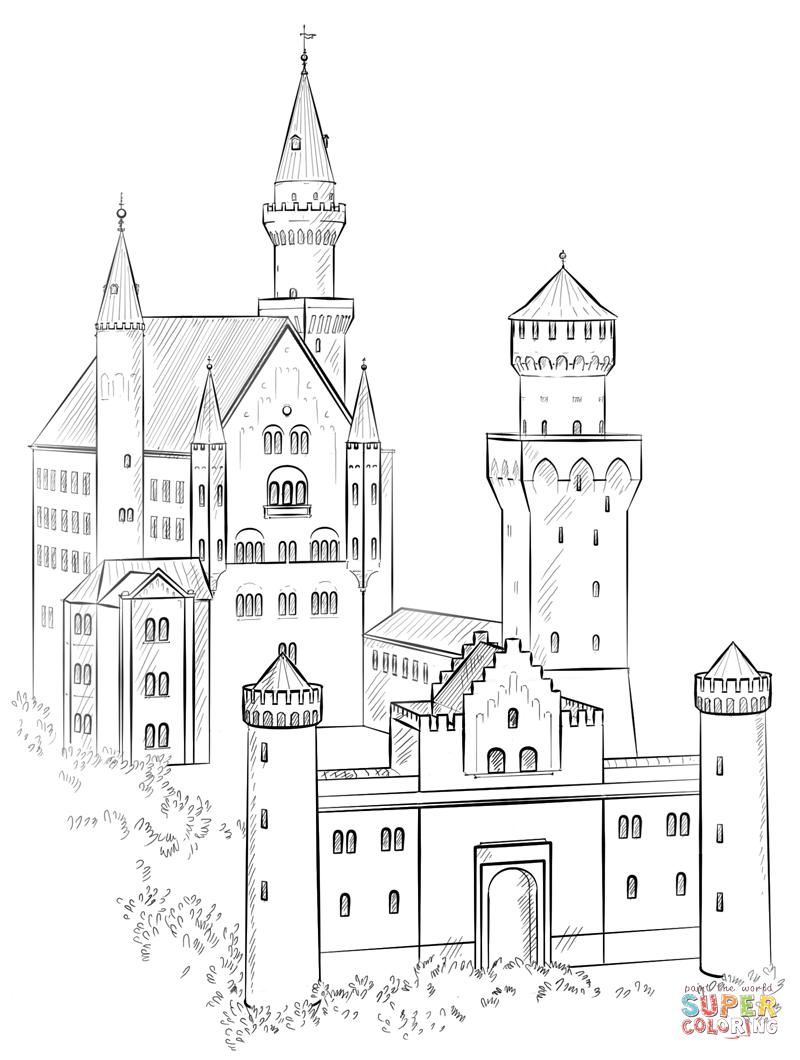 Neuschwanstein Castle coloring #8, Download drawings
