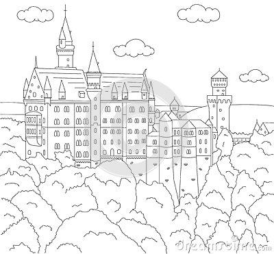 Neuschwanstein Castle coloring #17, Download drawings