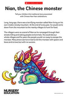Nian Monster coloring #3, Download drawings
