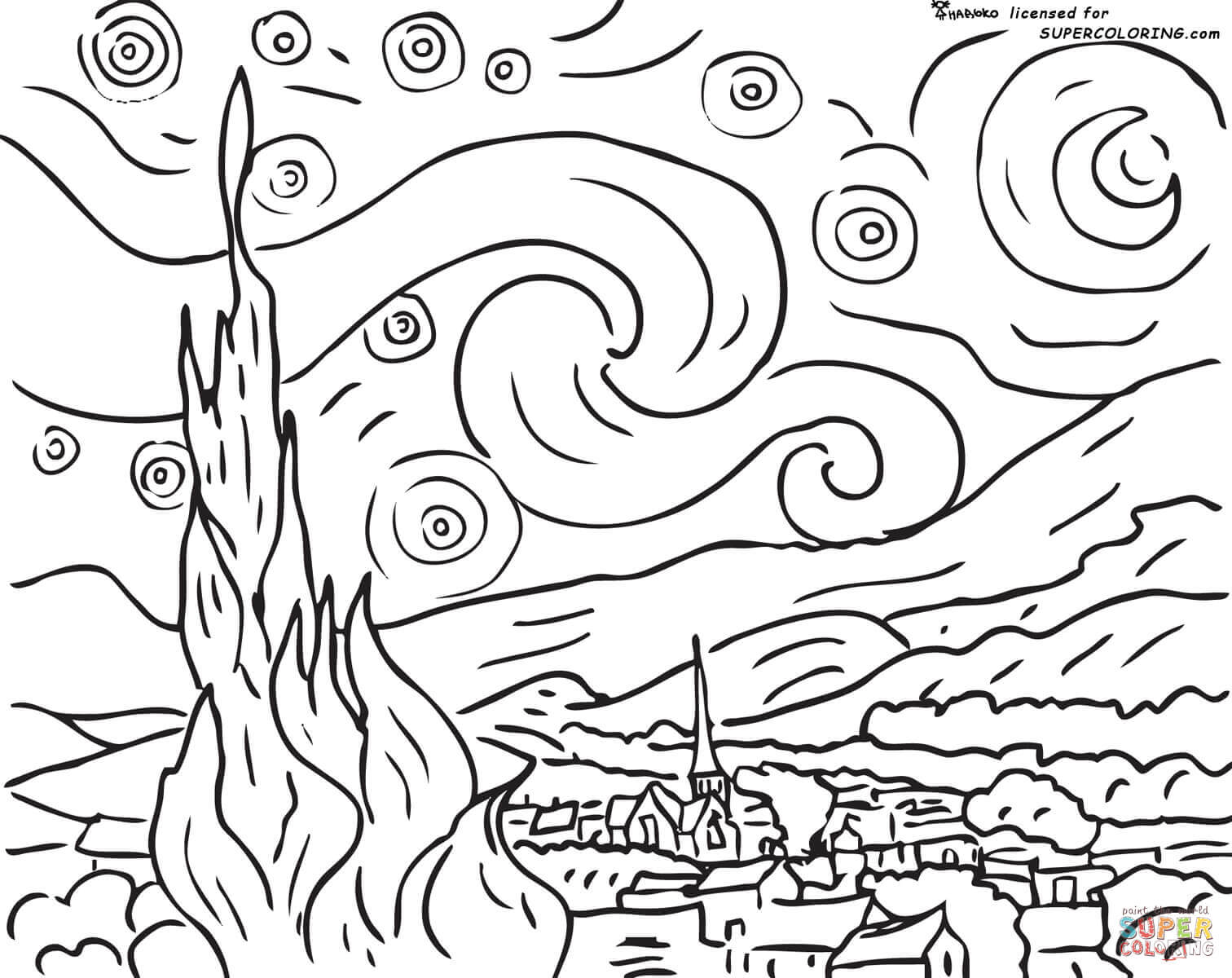 Night coloring #3, Download drawings