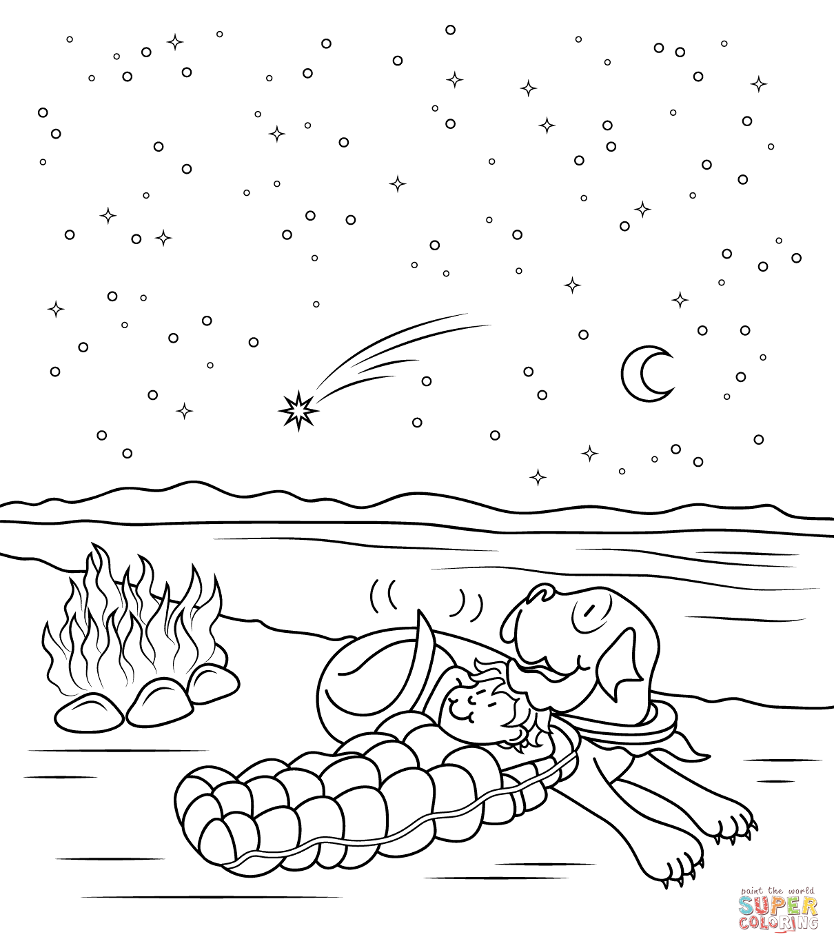 Night coloring #11, Download drawings