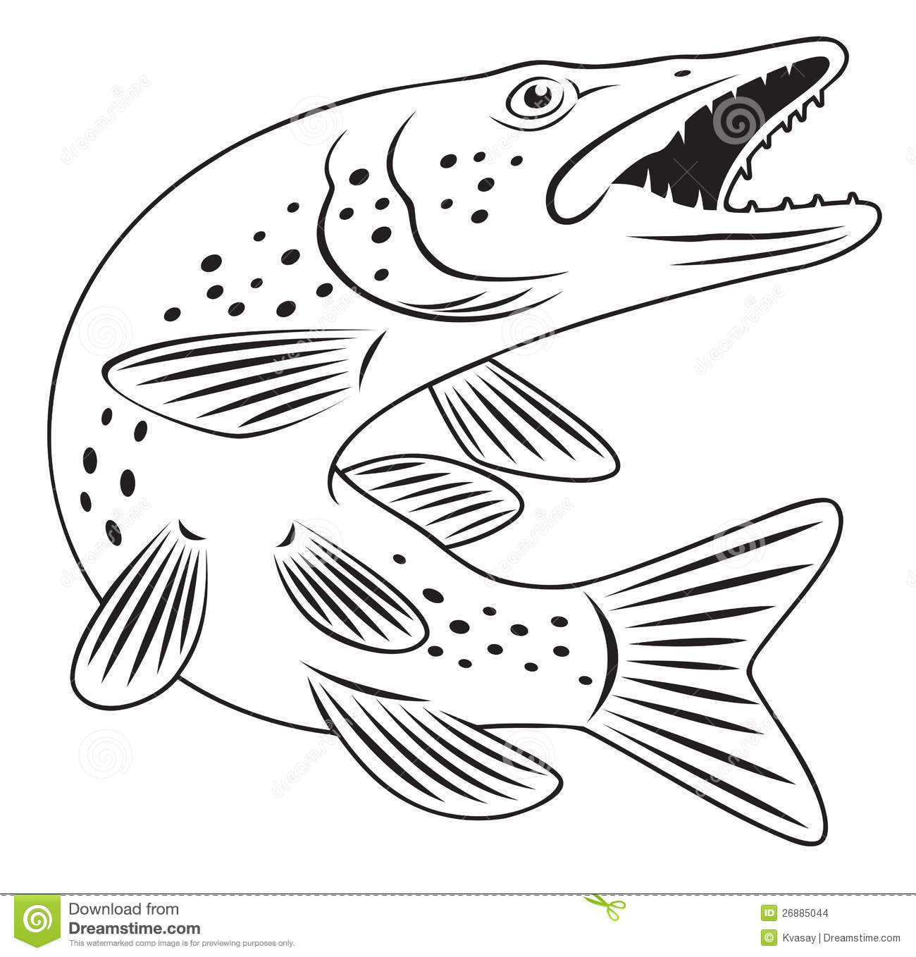 Northern Pike coloring #20, Download drawings