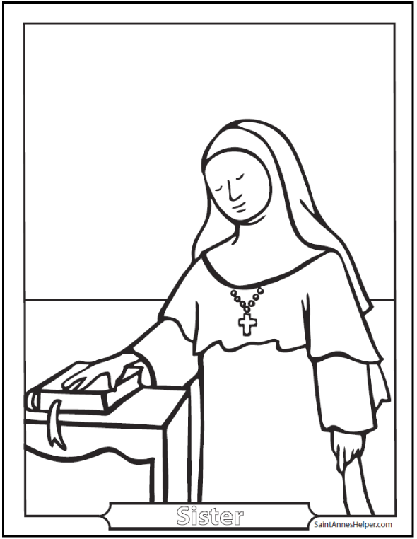 Nun coloring #20, Download drawings