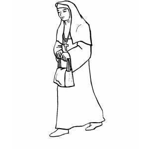 Nun coloring #19, Download drawings