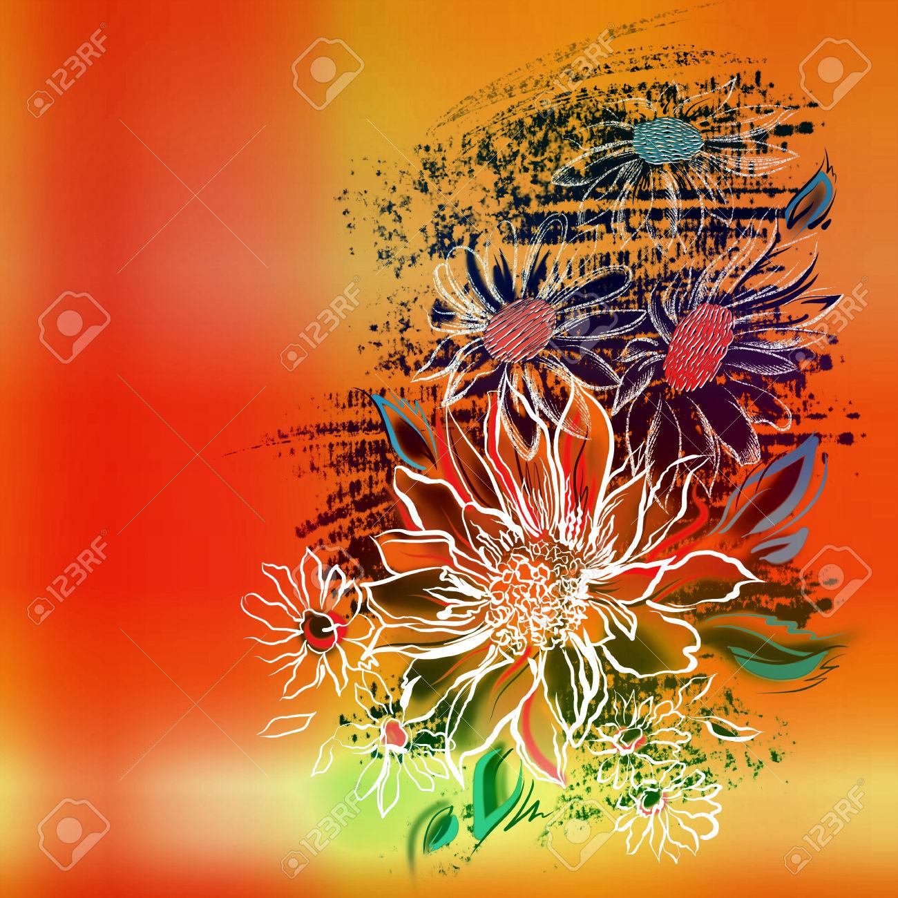 Orange Flower coloring #2, Download drawings