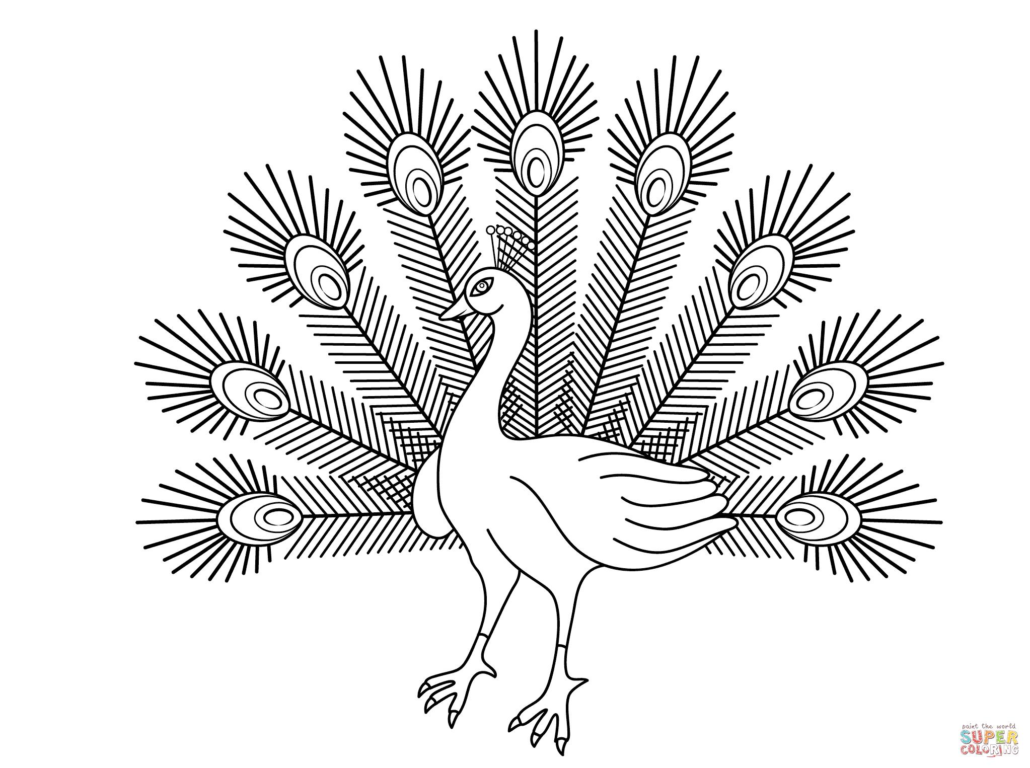 Peacock coloring #5, Download drawings