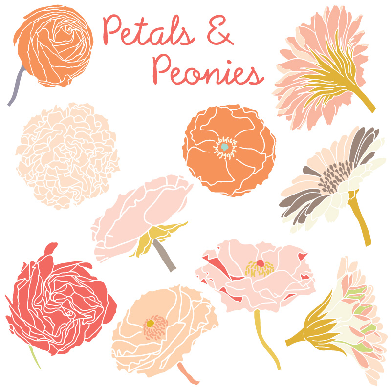 Peony clipart #2, Download drawings