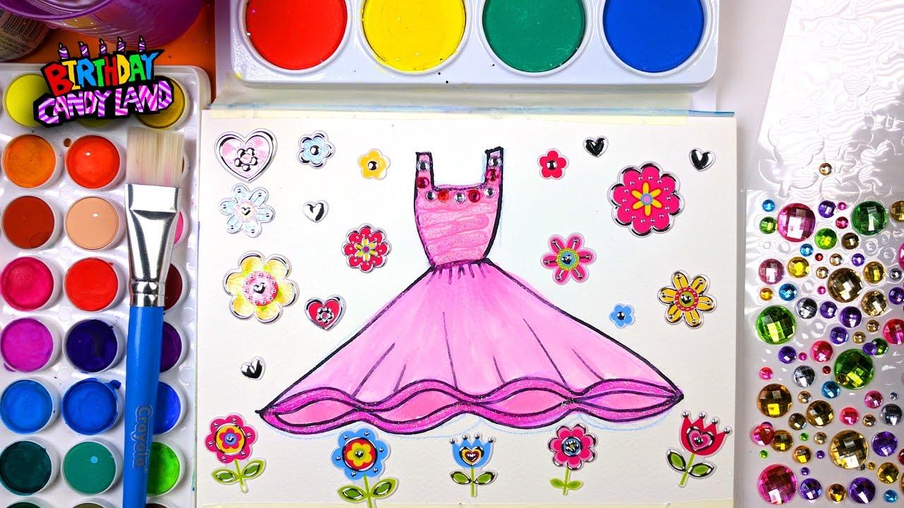 Pink Dress coloring #7, Download drawings