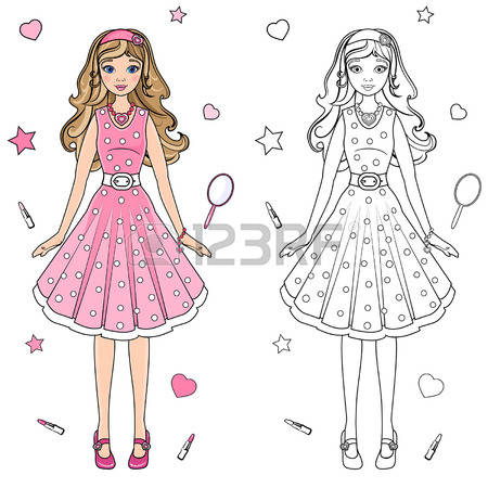 Pink Dress coloring #10, Download drawings