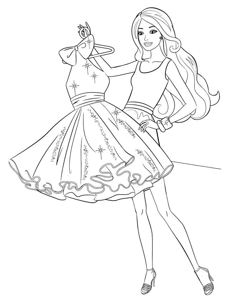 Pink Dress coloring #9, Download drawings