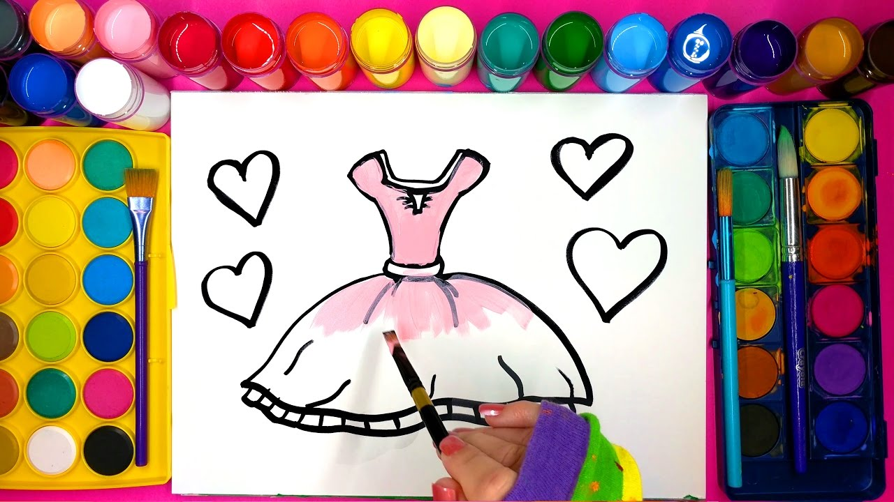 Pink Dress coloring #6, Download drawings