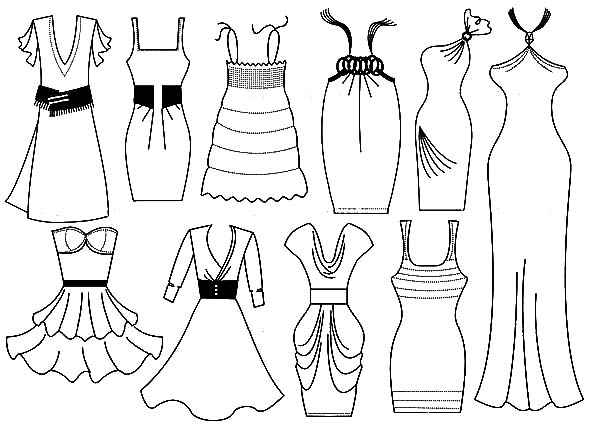 Pink Dress coloring #17, Download drawings