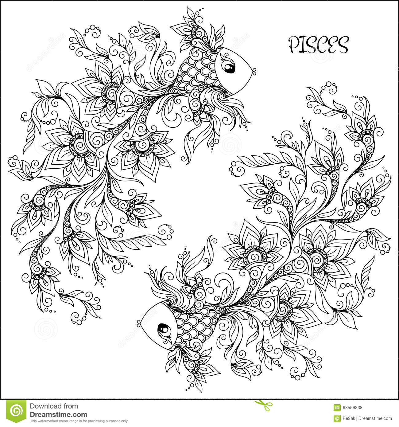 Pisces coloring #18, Download drawings