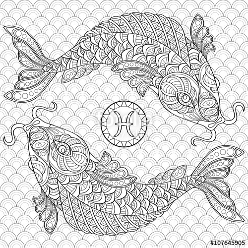 Pisces coloring #9, Download drawings
