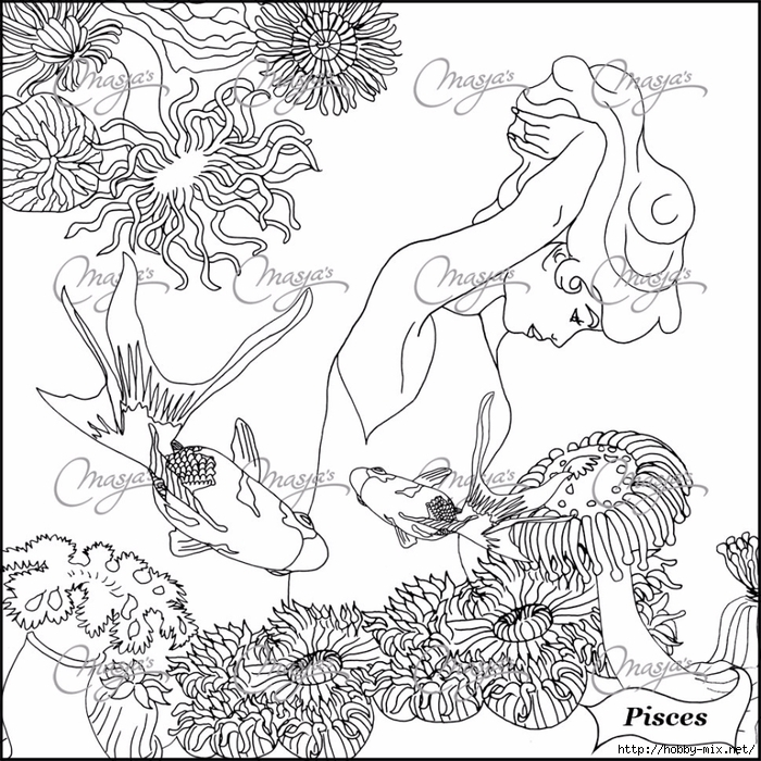 Pisces coloring #1, Download drawings