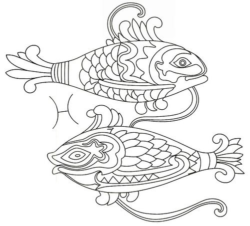 Pisces coloring #16, Download drawings