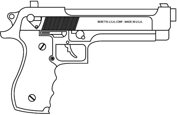 Pistol coloring #1, Download drawings
