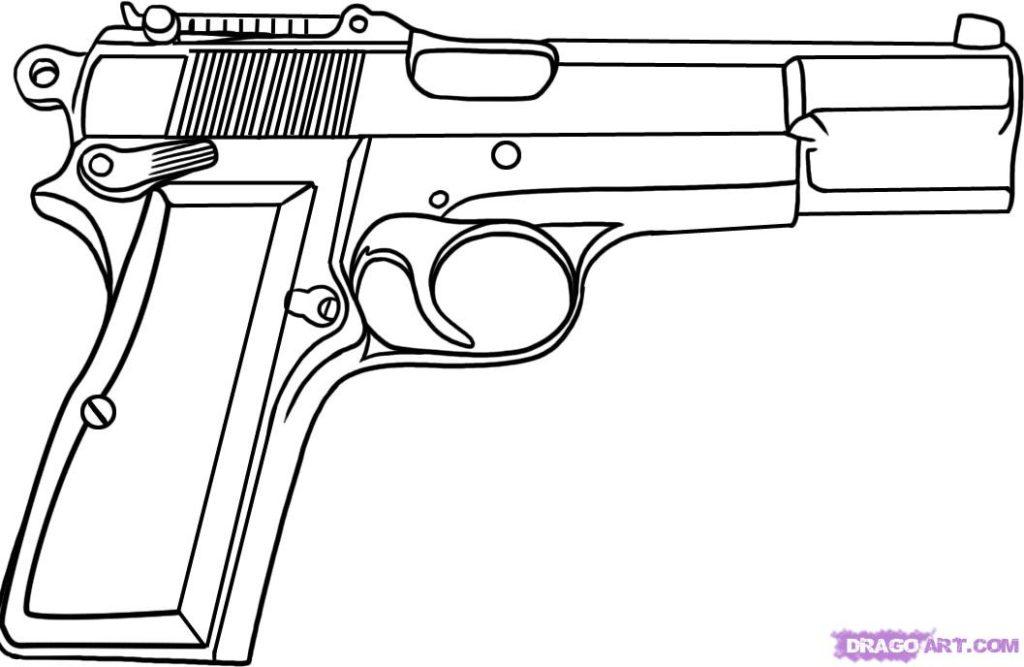 Pistol coloring #10, Download drawings