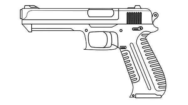 Pistol coloring #8, Download drawings