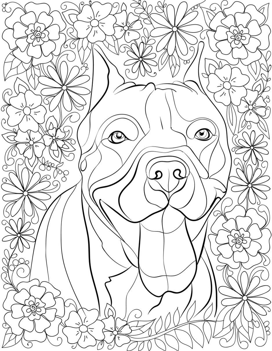 Pitbull coloring #14, Download drawings