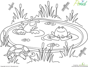 Pond coloring #19, Download drawings