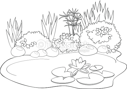 Pond coloring #5, Download drawings