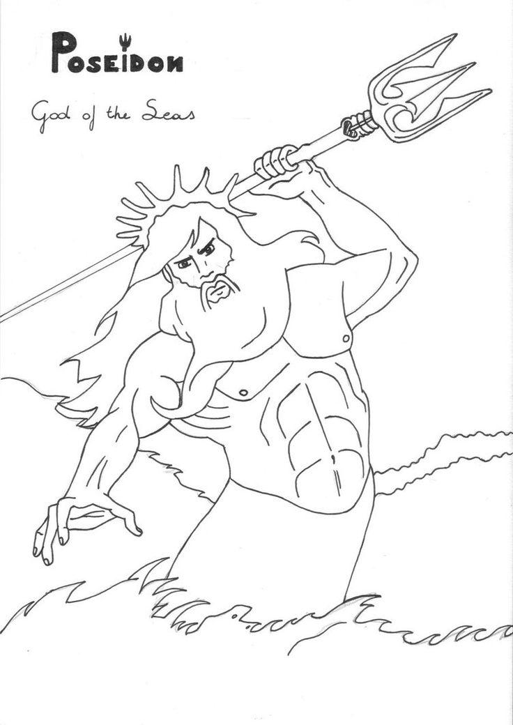 Poseidon coloring #2, Download drawings