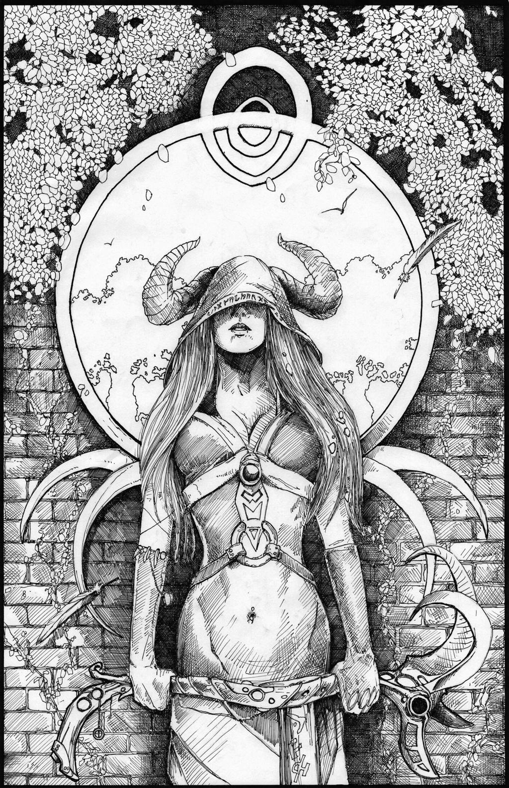 Priestess coloring #16, Download drawings