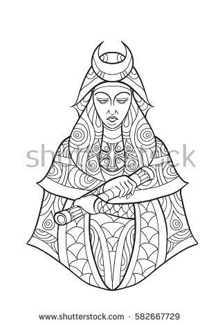 Priestess coloring #10, Download drawings