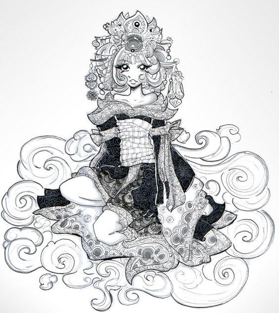 Priestess coloring #4, Download drawings