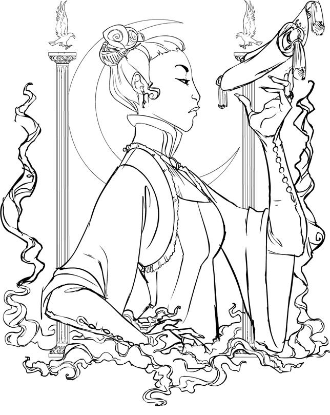 Priestess coloring #3, Download drawings