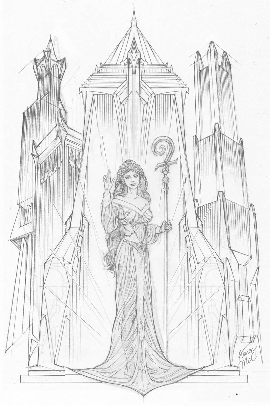 Priestess coloring #2, Download drawings