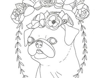Pug coloring #17, Download drawings