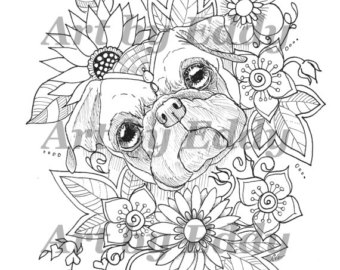 Pug coloring #12, Download drawings