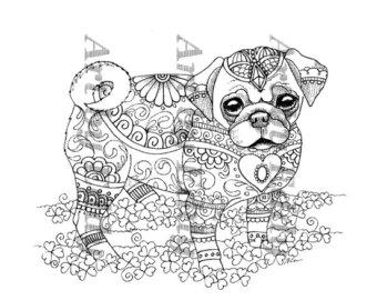 Pug coloring #10, Download drawings