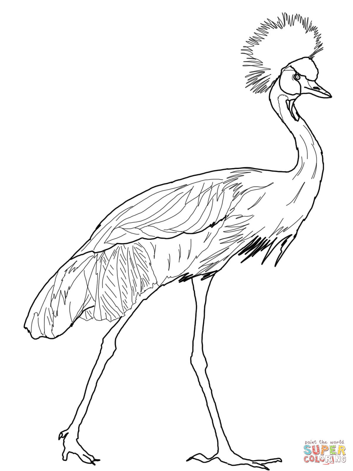 Red-crowned Crane coloring #9, Download drawings