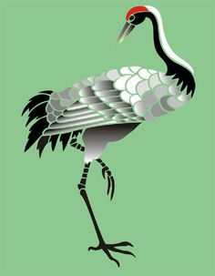 Red-crowned Crane svg #17, Download drawings