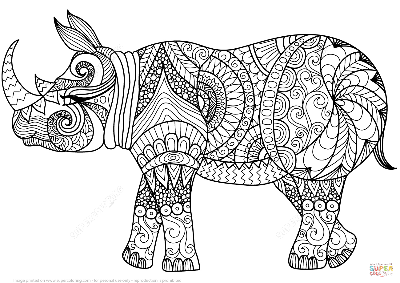Rhino coloring #2, Download drawings