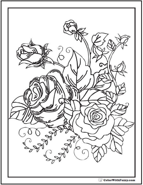 Rosebud coloring #8, Download drawings