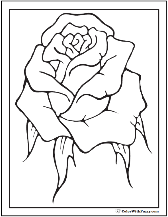 Rosebud coloring #10, Download drawings