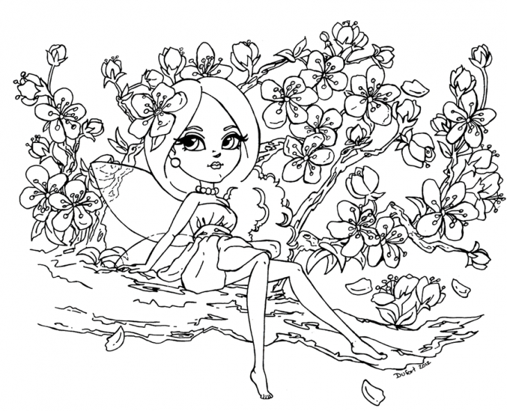 Sakura Tree coloring #1, Download drawings